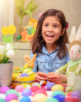 Photograph - Cute Girl In Easter Holiday by Anna Om