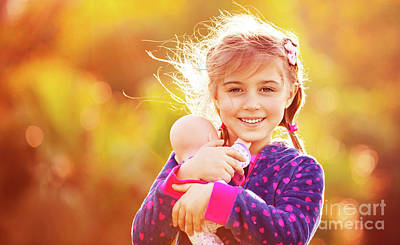 Photograph - Cute Girl Playing Outside by Anna Om