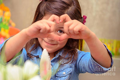 Photograph - Cute Girl Showing Love by Anna Om