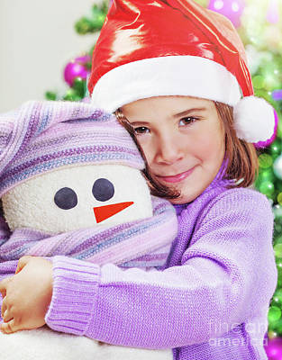 Photograph - Cute Girl With Snowman Toy by Anna Om