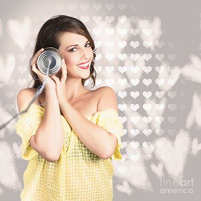 Endearing Photograph - Cute Girlfriend Receiving Message Of Love by Jorgo Photography - Wall Art Gallery