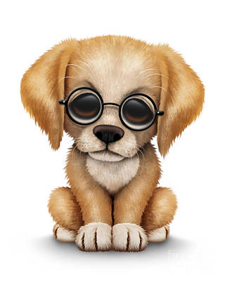 Retriever Digital Art - Cute Golden Retriever Puppy Dog Wearing Eye Glasses by Jeff Bartels