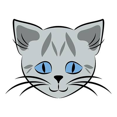 Digital Art - Cute Gray Tabby Cat Face by MM Anderson