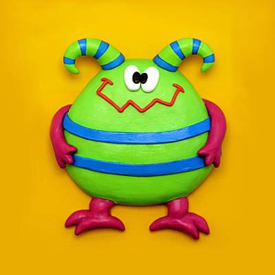 Comics Mixed Media - Cute Green Monster by Amy Vangsgard