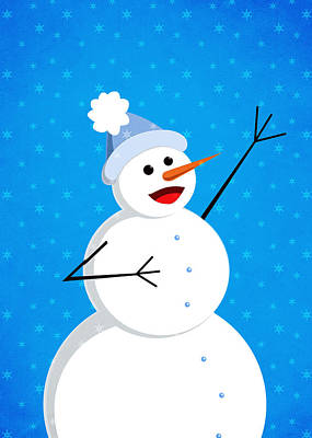Digital Art - Cute Happy Snowman by Boriana Giormova