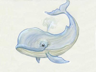 Cute Happy Whale Art Print