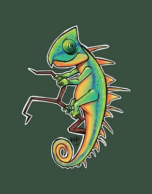 Cute Iguana Print by Tim Michael Ufferman