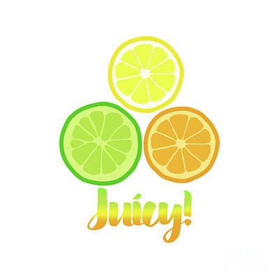 Cute Juicy Orange Lime Lemon Citrus Fun Art Art Print