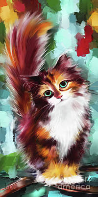 Persian Cat Painting - Cute Kitten by Melanie D