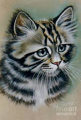 Cute Kitten Art Print by Val Stokes