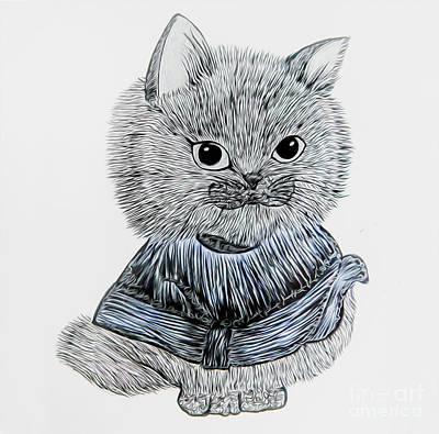 Drawing - Cute Kitty - Blue by Alexandra Art