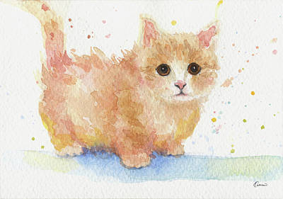 Watercolor Pet Portraits Painting - Cute Kitty by Kathleen Wong