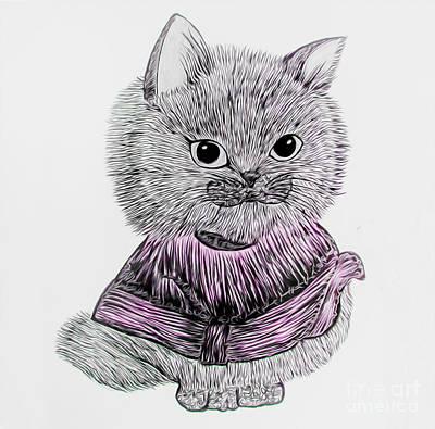 Photograph - Cute Kitty - Red by Alexandra Art