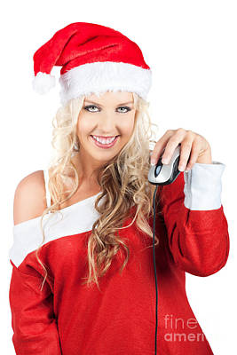 Cute Lady Santa Claus With Computer Mouse Art Print