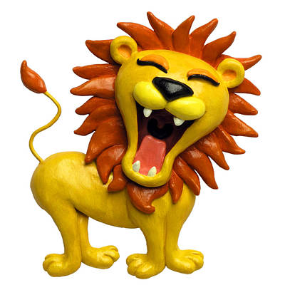 Claymation Sculpture - Cute Lion Roaring by Amy Vangsgard