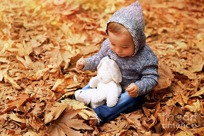 Photograph - Cute Little Baby In Autumn Park by Anna Om