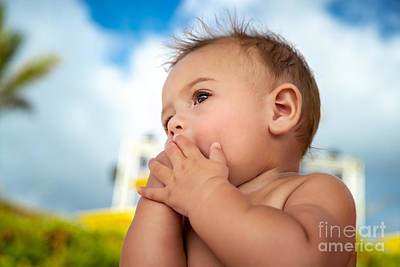 Photograph - Cute Little Baby Outdoors by Anna Om