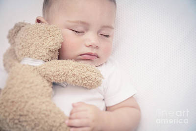 Photograph - Cute Little Baby Sleeping by Anna Om