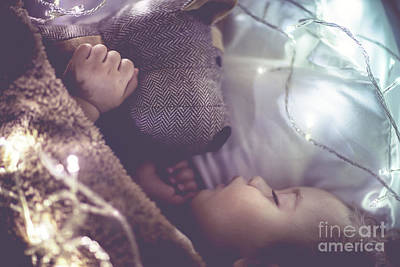 Photograph - Cute Little Baby Sleeping At Home by Anna Om