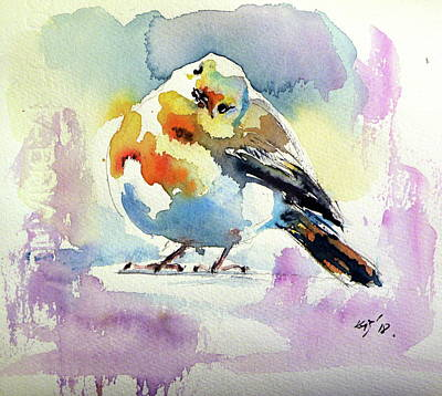 Painting - Cute Little Bird II by Kovacs Anna Brigitta