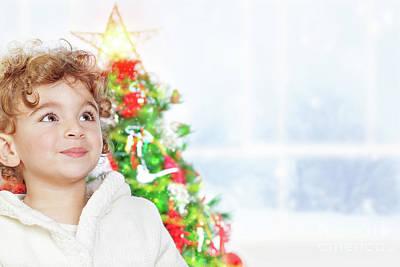 Photograph - Cute Little Boy Near Christmas Tree by Anna Om