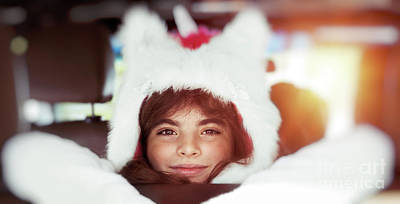 Photograph - Cute Little Girl In The Car by Anna Om