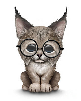 Cute Lynx Cub Wearing Glasses Print by Jeff Bartels