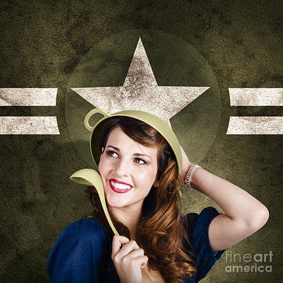 Cute Military Pin-up Woman On Army Star Background Art Print