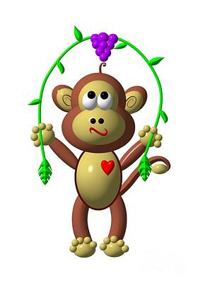 Digital Art - Cute Monkey Jumping Rope by Rose Santuci-Sofranko