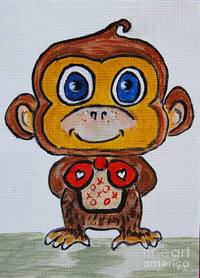 Painting - Cute Monkey - My Best Behavior #657 by Ella Kaye Dickey