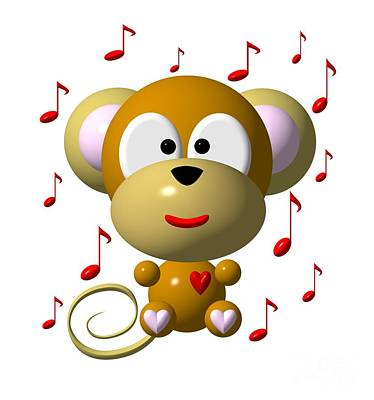 Digital Art - Cute Musical Monkey by Rose Santuci-Sofranko