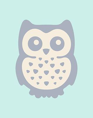 Mint Digital Art - Cute Owl by Julia Jasiczak