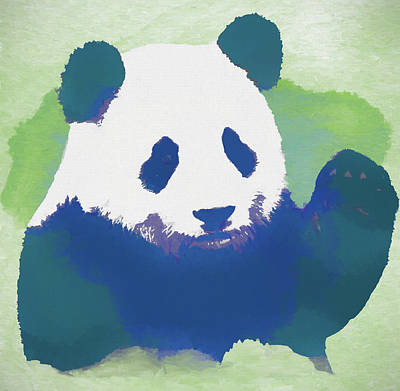 Giant Panda Mixed Media - Cute Panda Waving by Dan Sproul
