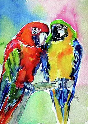 Painting - Cute Parrots In Love by Kovacs Anna Brigitta