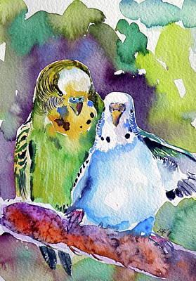 Painting - Cute Parrots by Kovacs Anna Brigitta