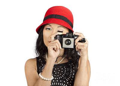 Cute Pin Up Asian Lady Taking Photo With Camera Art Print
