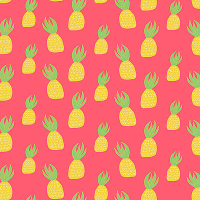 Tropical Digital Art - Cute Pineapples by Allyson Johnson