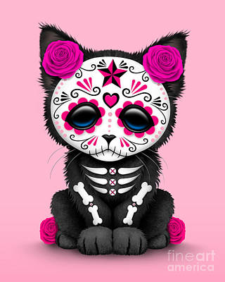 Cute Kitten Digital Art - Cute Pink Day Of The Dead Kitten Cat  by Jeff Bartels