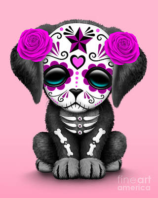 Cute Dogs Digital Art - Cute Pink Day Of The Dead Sugar Skull Dog  by Jeff Bartels