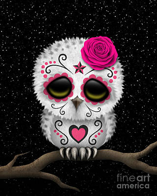 Snowy Day Digital Art - Cute Pink Day Of The Dead Sugar Skull Owl On A Branch by Jeff Bartels