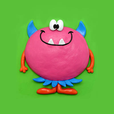 Claymation Sculpture - Cute Pink Monster by Amy Vangsgard