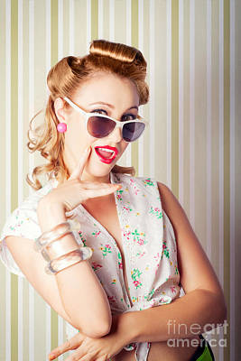 Photograph - Cute Pinup Fashion Girl With Surprised Expression by Jorgo Photography - Wall Art Gallery