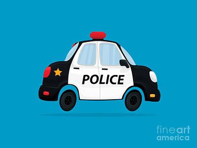 Police Car Digital Art - Cute Police Car by Nathan Poland