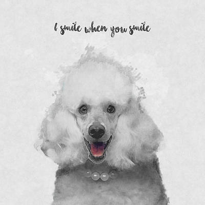 Smiling Mixed Media - Cute Poodle Art by BONB Creative