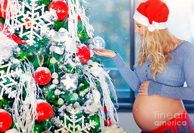 Photograph - Cute Pregnant Woman Adorns Christmas Tree  by Anna Om