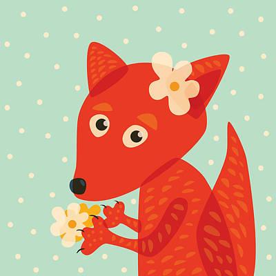 Digital Art - Cute Pretty Fox With Flowers by Boriana Giormova