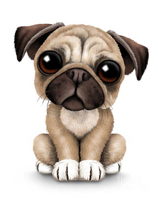 Pug Digital Art - Cute Pug Puppy Dog by Jeff Bartels