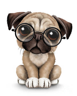Pug Digital Art - Cute Pug Puppy Dog Wearing Eye Glasses by Jeff Bartels