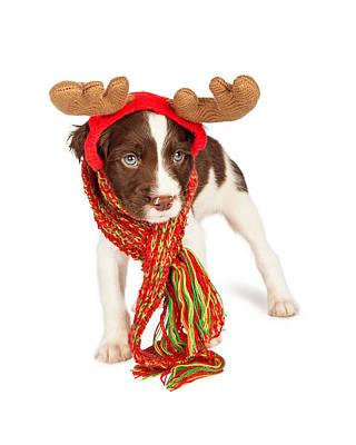 Cute Puppy Christmas Reindeer Print by Susan Schmitz