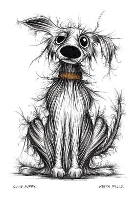 Mutt Drawing - Cute Puppy by Keith Mills